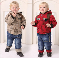 Letter Boy 0-3Year Wholesale - Winter baby Outfits & Sets boy clothing set classics letter cotton coat+jeans childrens