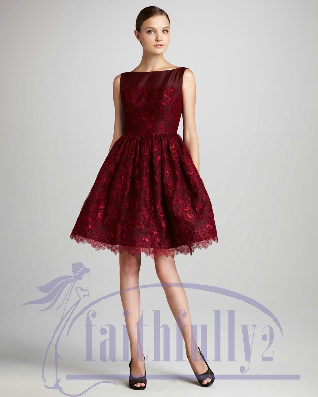Vintage Crimson Bateau Lace A Line Short Prom Dresses Ruffle V ...