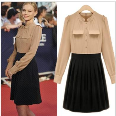 Fashion Western Style Women Casual Dress Slim Stand Collar Dress Pleated Skirt Women Clothing