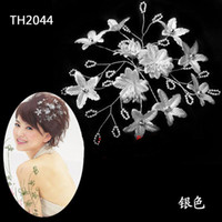 Wholesale wedding hair accessories silver gold red bridal flower hair pin