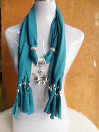 Wholesale Jewelry Scarf For Women Silver Dragonfly Butterfly Pendant Necklace Scarves Jewellery Many colors can choose trial order