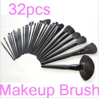 Wholesale 32Pcs Professional Makeup Brush Sets make up Cosmetic Brush Set Kit Tool Roll Up Cases