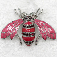 costume brooch jewelry - Red Crystal Rhinestone Enameling Honey Bee Brooches Fashion Costume Pin Brooch Jewelry gift C709 C