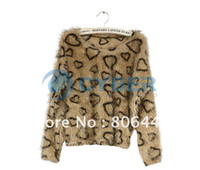 Wholesale Women s Long Sleeve Heart Leopard Pattern Fluffy Pullover Short Tops T Shirt Blouse