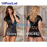 Wholesale 10Pcs Ladies Sexy Lingerie Black Satin Sleepwear Costume Lace Detail Robe and G String Wholesal