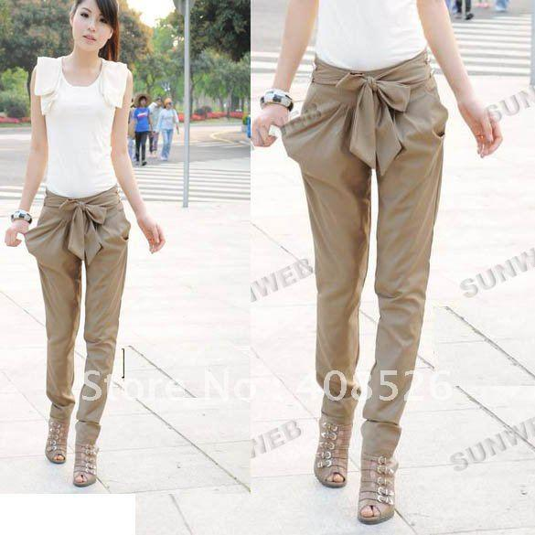 2012 Fashion High Women's Skinny Long Trousers OL Casual Bow Harem ...