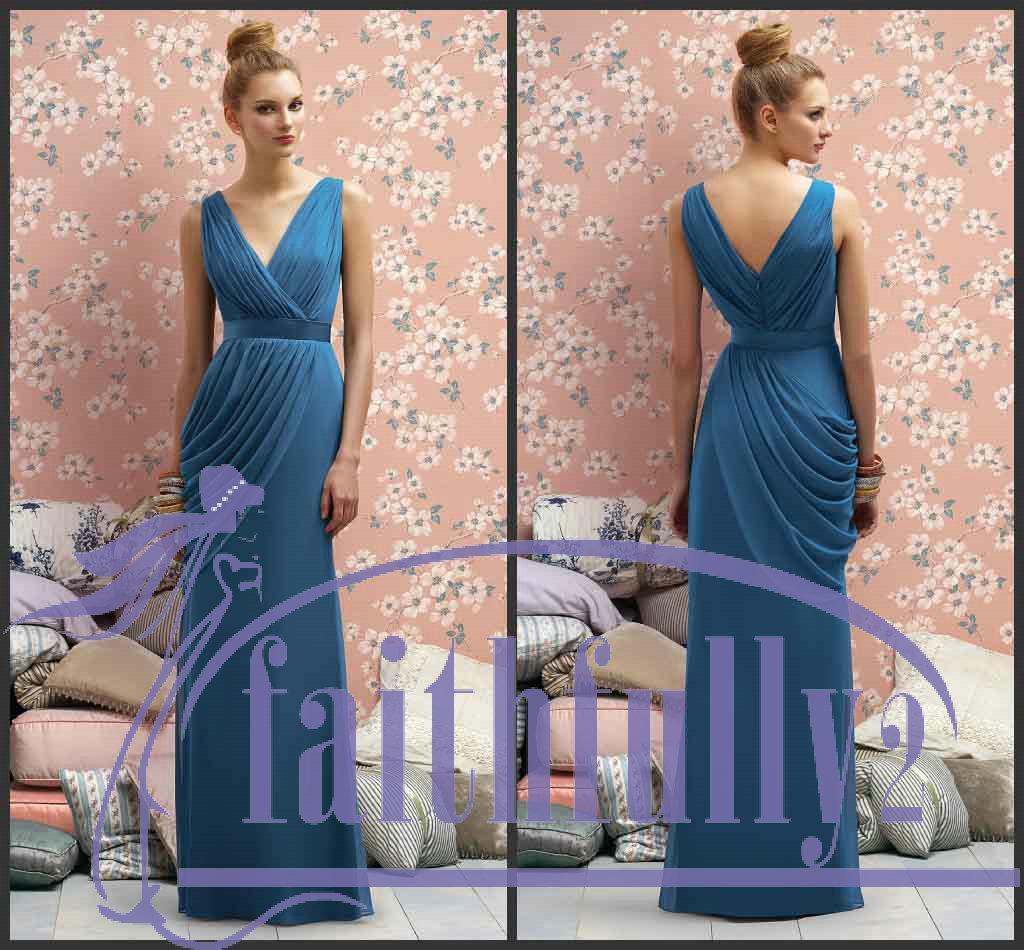 Ocean blue bridesmaid dress v neck v back draped bodice for Wedding dress with blue detail
