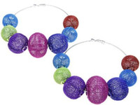 Round basketball hoops cheap - CHEAP MIXED COLOR BASKETBALL WIVES mesh beads mix model basketball wives Bling hoop earring