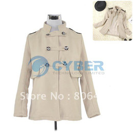 Wholesale New Fashion Women s Elegant Wool Double breasted Coat Outwear Overcoat Size