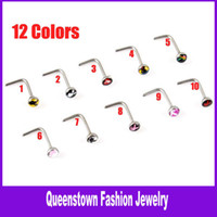 Wholesale Playboy Flag Nose Studs Nose Rings Colors L Steel Piercing Body Jewelry Playboy Flag