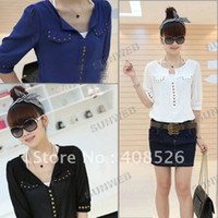 Wholesale Casual Fashion new Korea Women V neck Studs half Sleeve Chiffon Blouse Top Black White Blue free sh
