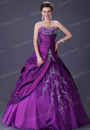 Wholesale Stock Quinceanera Dress Ball Gown Strapless Wedding Evening Prom Dresses Size CL2515