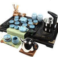 Wholesale Sky blue Ice crack glaze kung fu tea set ceramic tea set induction cooker boil water in tea tray