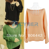 Women Cotton Twinset Ladies Casual Batwing Round Neck Pullover Jumper Bottoming Loose Short Sweater Free Shipping 9243