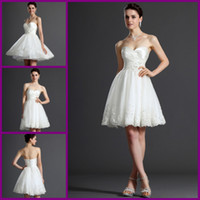 Wholesale Graceful White Sweetheart Beading Tulle Short Bridal Gown Wedding Dress Bridesmaid Dress Custom Made