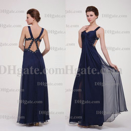 Hot Sell Best Discount Elegant Dark Navy Colour Floor Length Backless Chiffon prom Evening Dress PD151