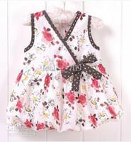 Baby girl kids summer rosette flower dress floral dress vest...