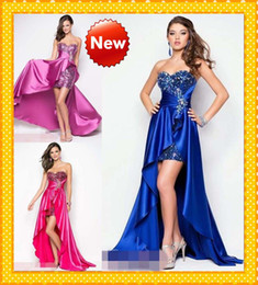 Wholesale 2016 Royal Blue High Low Prom Dresses Sequins Fabric Ruffles Sweetheart Crystal Long Cheap Evening Party Formal Dress Gowns