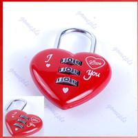 Buckle mini padlock - Mini Cute Digits Luggage Suitcase Padlock Red Heart Shaped Coded Lock