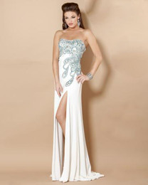 Wholesale 2013 Sexy Strapless Sheath Peacock Prom Dresses Beaded Jersey Side Slit Sweep Train MZ115