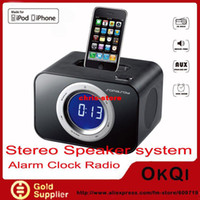 Wholesale DHL music speaker for iphone ipod docking with Alarm Clock FM Radio MFI license iP19