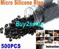 Wholesale Black Silicone Micro Link Beads Rings Hair Extensions Toos Dropshipping X500pcs