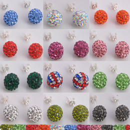 2016 Hot Disco Crystal Ball Shamballa earrings Rhinestone Crystal 925 silver Earrings Multi Colour Free Shpinping