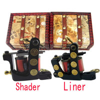 Wholesale 2 Handmade Cast iron Tattoo Machine Gun Kit Shader Liner Gift Wood Box
