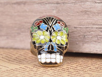 Wholesale Vintage Charm Skull Rings Fashion Costume Rings Punk Adjustable Rings R045