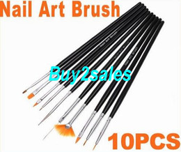 Wholesale 10PCS Black Nail Painting Art Brush Set Dropshipping sets