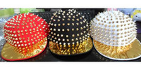 Wholesale Hedgehog Punk Hiphop Unisex Hat Gold Spikes Spiky Studded Cap YHT