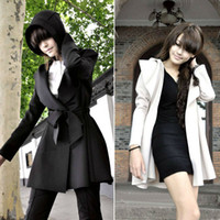 Wholesale trench coat NEW HOT WOMENS HOODED COAT TRENCH OUTERWEAR DRESS STYLE TOP WF