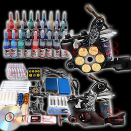 Wholesale Professional complete cheap tattoo kits guns machines ink sets equipment power supply grips tips needles LKT