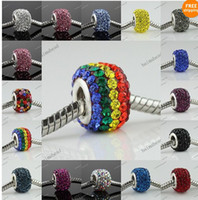 Oval Circle MIX COLORS 15 COLORS CRYSTAL TRUE 925 SILVER FINDINGS SQUARE EUROPEAN CHARM BEAD FOR PANDORA,500PCS LOT