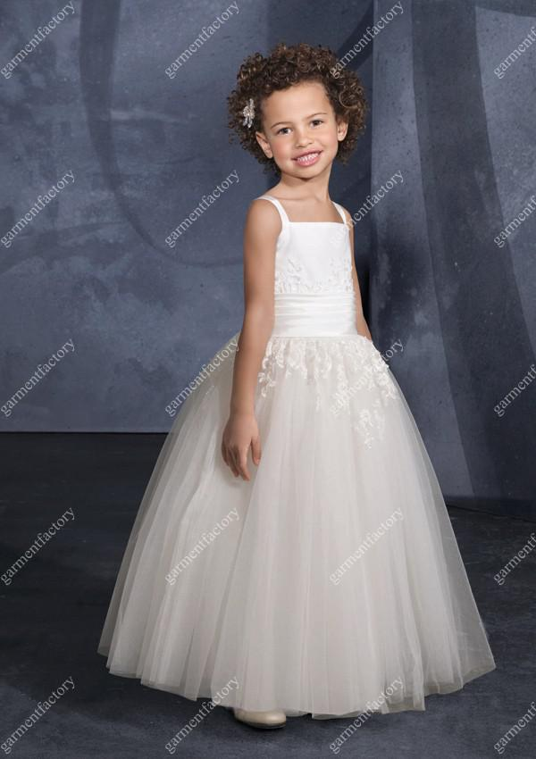 pictures of kids pageant gowns full length appliqued ivory