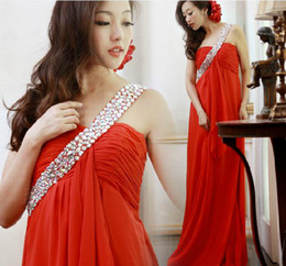 Wholesale In Stock Special Occasion Dresses everning dress red chiffon Pregnant dress one sholder new arrivel