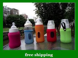 Wholesale New V COOOL Baby Milk Bottle bag Set Glass feeding Bottles Insulating Sheath S L gifts