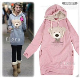 Wholesale HOT Women s Hoodie Long Top Pullover Winter Garment Bear Designed Sweatshirts Pink Blue Black