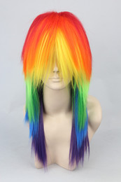 Wholesale Rainbow dash cm mix color half long straight party cosplay costume wig synthetic cos hair Free shi
