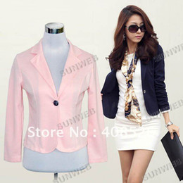 Wholesale Lady Women s Fashion Slim One Button Long sleeve Leisure small suit Blazer Coat Jacket M L Black Blu