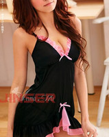 Wholesale Sexy Black amp Pink Lace Lingerie Sleepwear Dress G STRING Sexy one size Sleepwear Underwear W1213