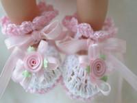 venda por atacado booties crochet-Bebés Meninas Lace bonito sapatos infantis Calçado Primeiro Andar calçado Handmade Crochet sapatos da criança Bootie L3388