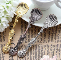 Wholesale Vintage Ornately Style Colors Alloy Shells Coffee Tea Dessert Spoons