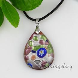 tear water drop millefiori glitter silver foil lampwork murano handmade glass necklaces with pendant Fashion jewelry in bulk Mup154
