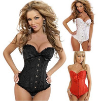 Wholesale Sexy Corset Women Bone Black Lace Bustier Corset G string Set Lingerie W1210