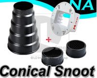 Bon Marché Snoot nid d'abeille-Métal Snoot Conique en Nid d'abeille Studio Flash Canon CA-6A Adaptateur Pour Nikon SB-900 PD012C