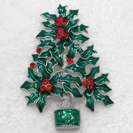 Wholesale Crystal Rhinestone Enameling Christmas tree Pin Brooch Christmas gifts Brooches C667