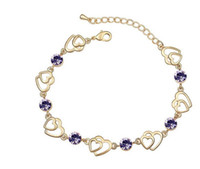 Wholesale Hotselling KGP Austria Crystal Heart charm link Bracelet Anklet fashion jewelry color