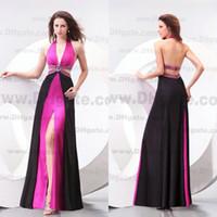 Wholesale Sexy Black And Pink Colour Deep V neck Split Stretch Satin Prom Dress PD176