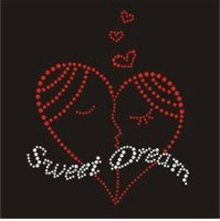 Wholesale 7 quot Sweet Dream Heart Iron on Rhinestone Transfers Motifs Designs Hotfix Valentine s Day